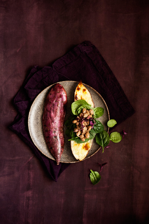 Vitamin K: roasted purple-skinned sweet potato with Japanese natto beans