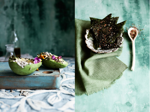 Vitamin E: avocodo topped with seeds, wheatgerm oil and edible flowers. Vitamin B12: homemade nori chips