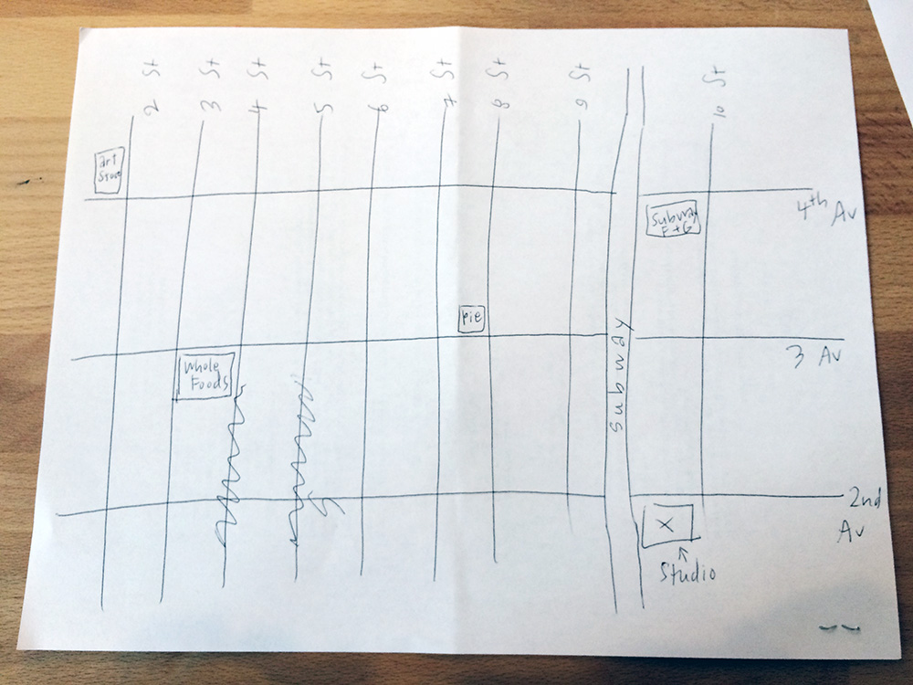 Sara drew a map of the neighborhood for me. Loved they have Whole Foods and a big art supply store!