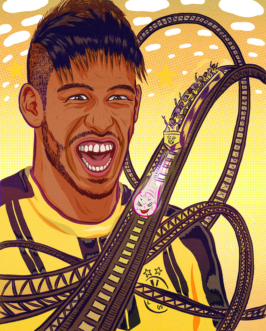 For 8x8 magazine's issue #09 about Pierre Emerick Aubameyang , a football player who plays for Borussia Dortmund in Germany.