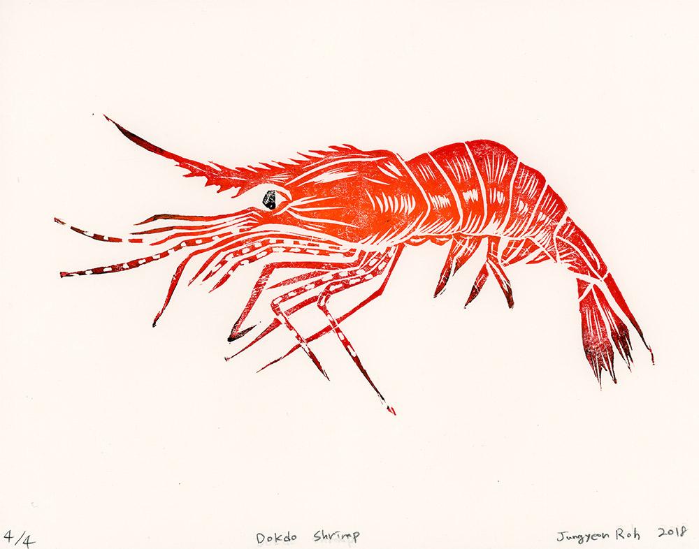 Dokdo Shrimp, Linocut, 4 editions