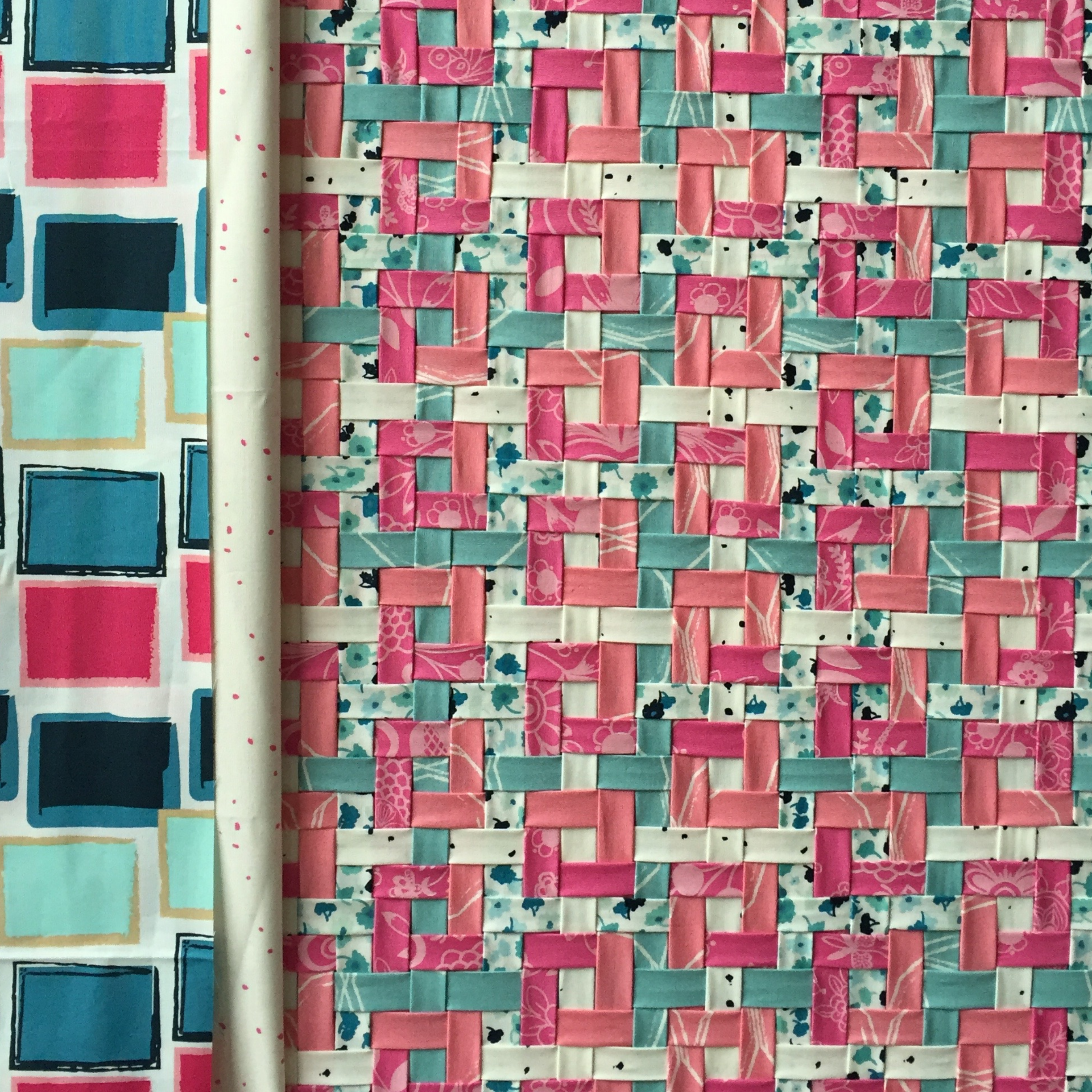 Auditioning borders for Woven Tiles mini quilt.