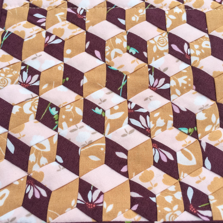 """Tumbling blocks mad weave using 1/2"""" strips Playground Fabrics"""