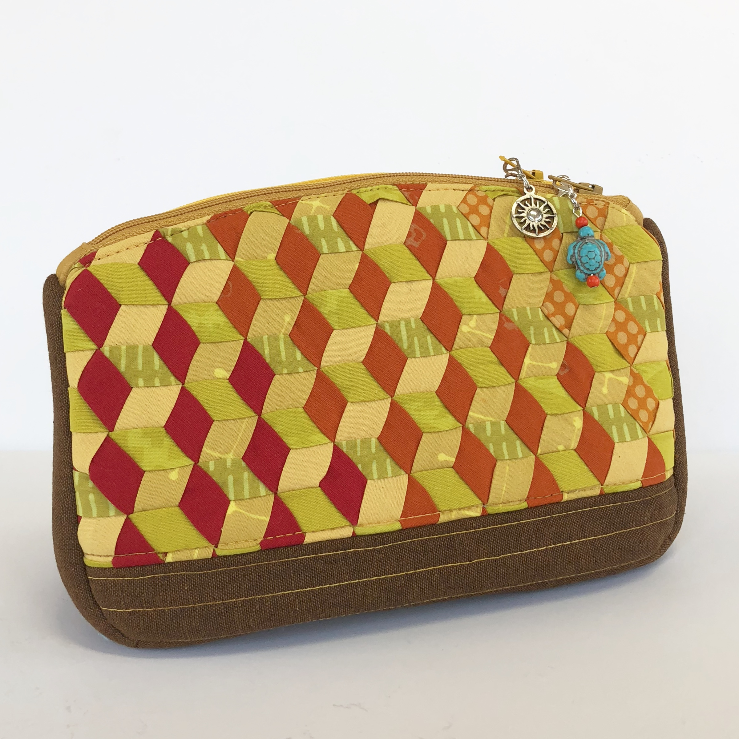 Filigree Double Zip Pouch with woven exterior by WEFTY.