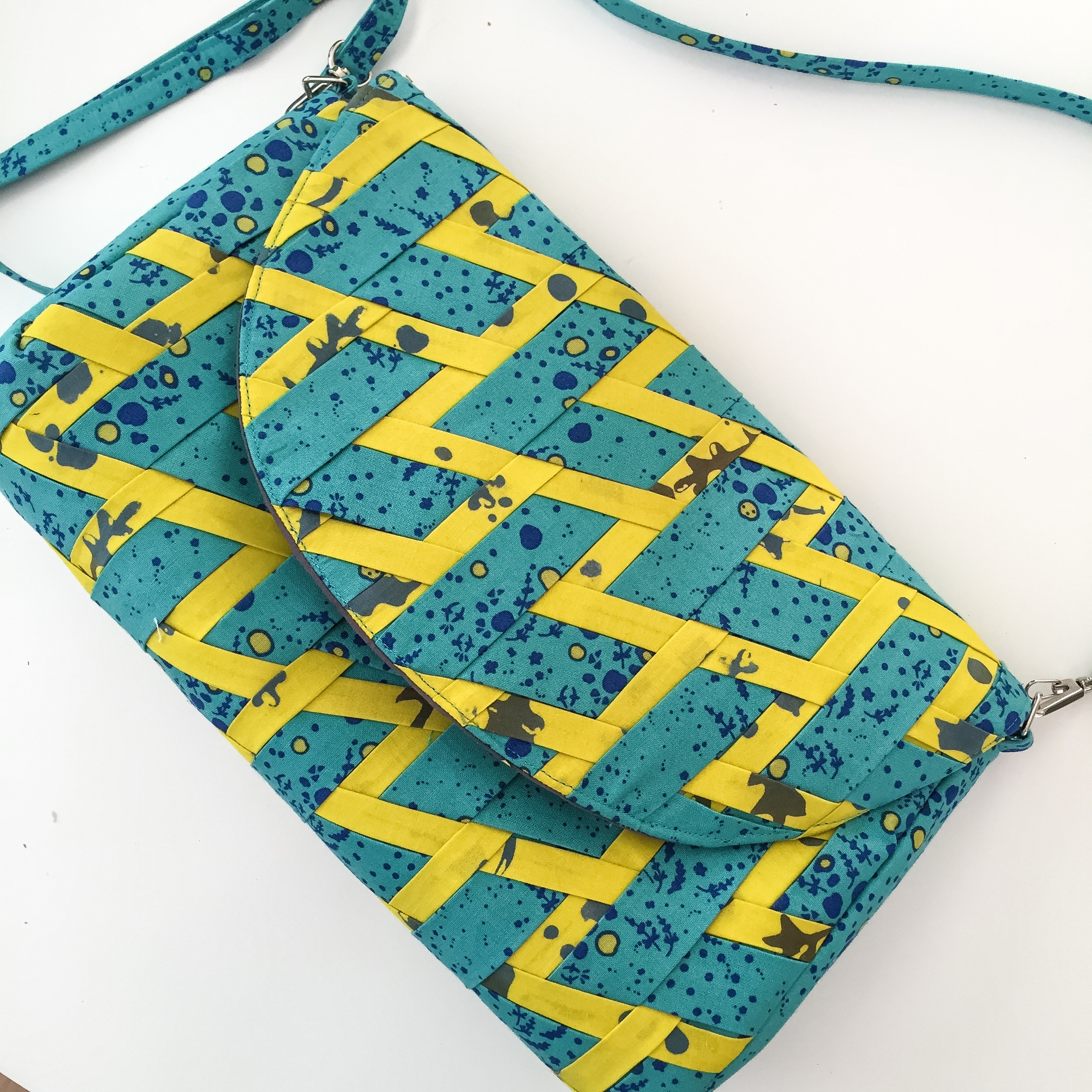 Clare Anna Purse in Alison Glass Sunprint and Handcrafted