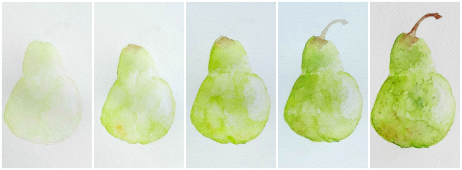 Pear painting tutorial from www.growcreative.blogspot.com
