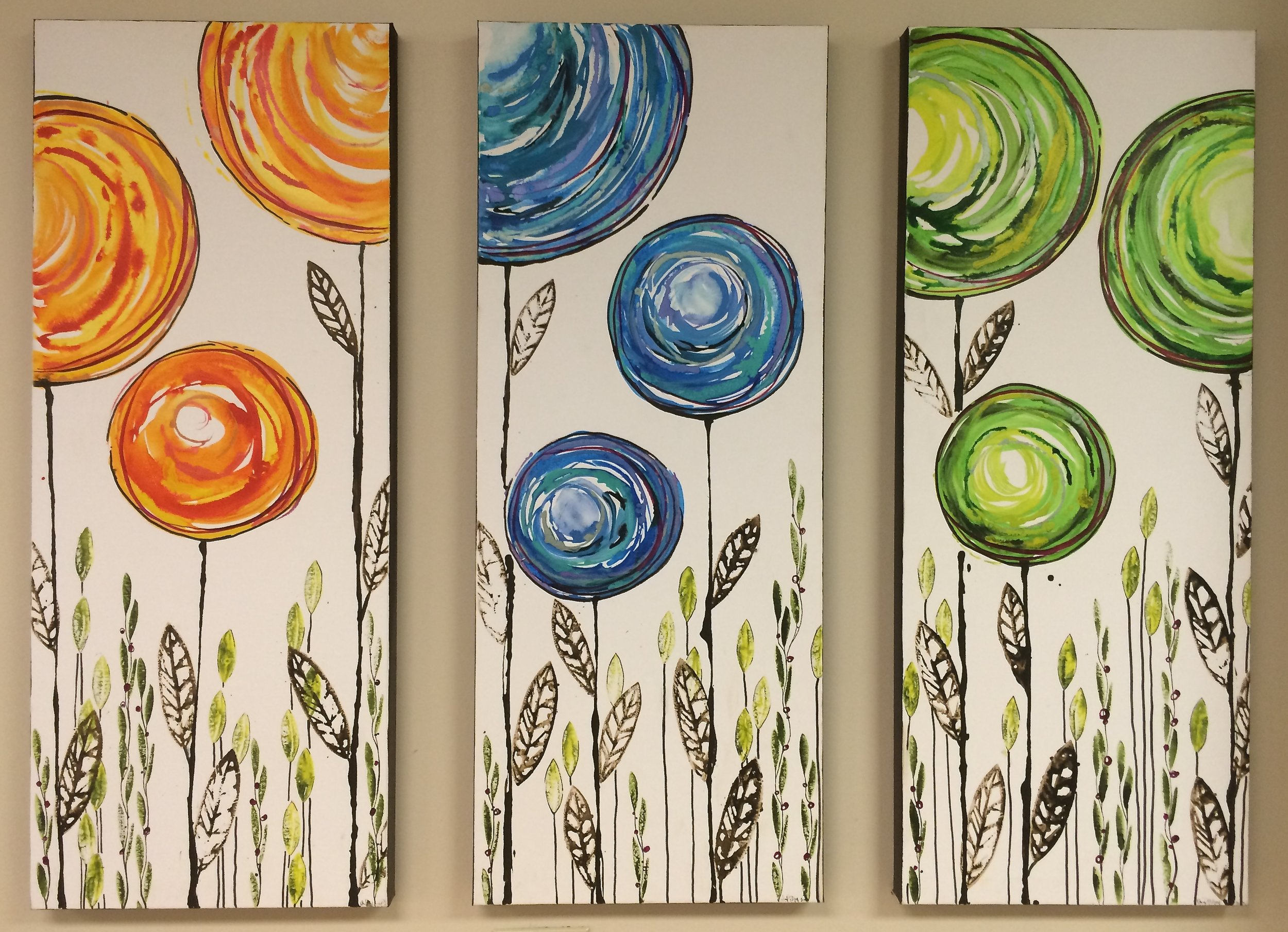 "Globe Trees Triptych  3 - 18"" x 36"" panels - canvas  $750"