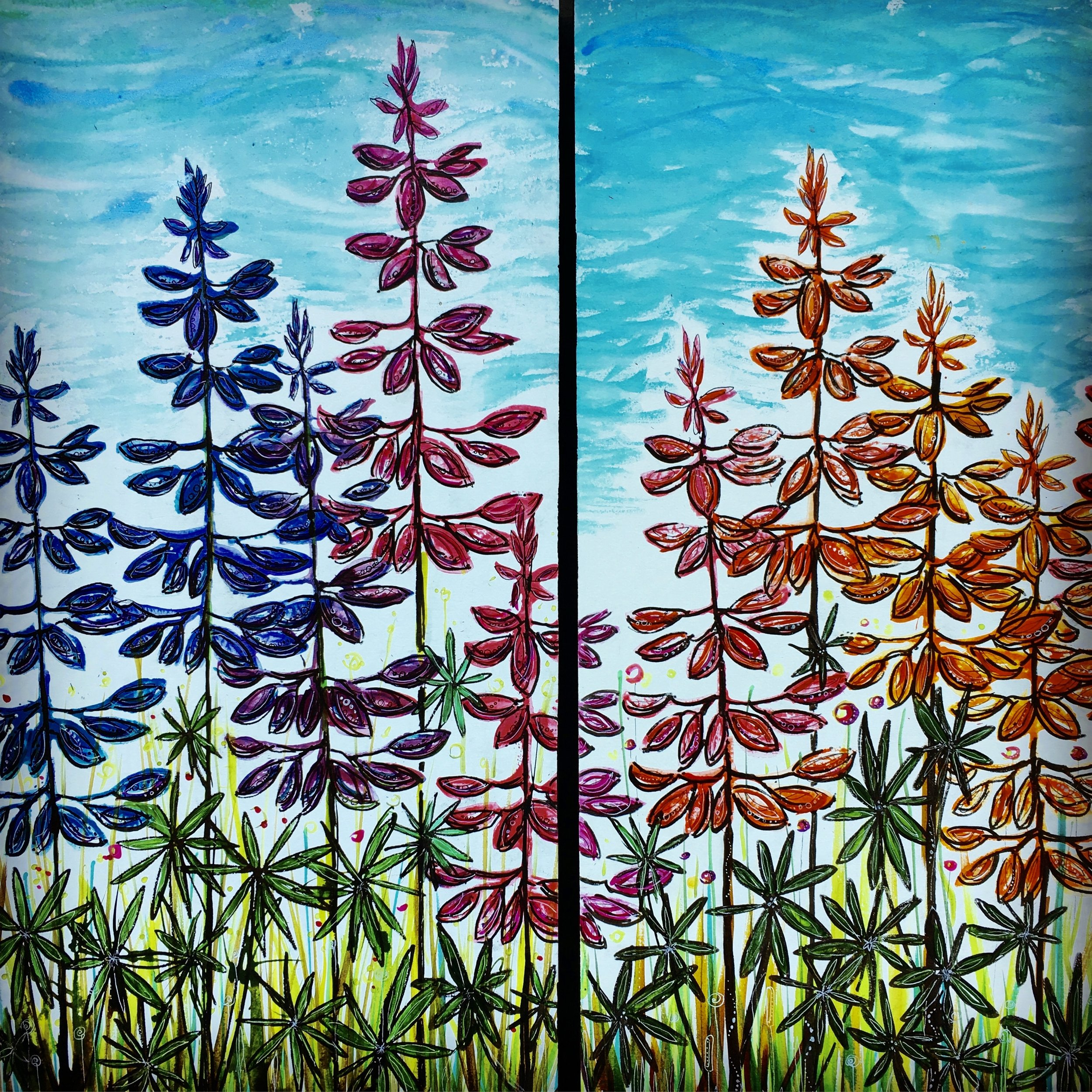 "Lupine   Diptych   2 - 18"" x 30"" Acrylic ink, black pen and Copic marker on cradleboard.   SOLD"