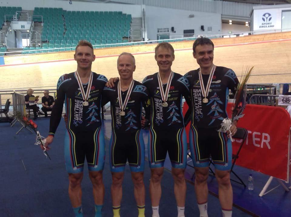 Bicisport Team Pursuit World Master Silver: Andrew Patten, Jayson Austin, Geoff Baxter and Matt Glanville