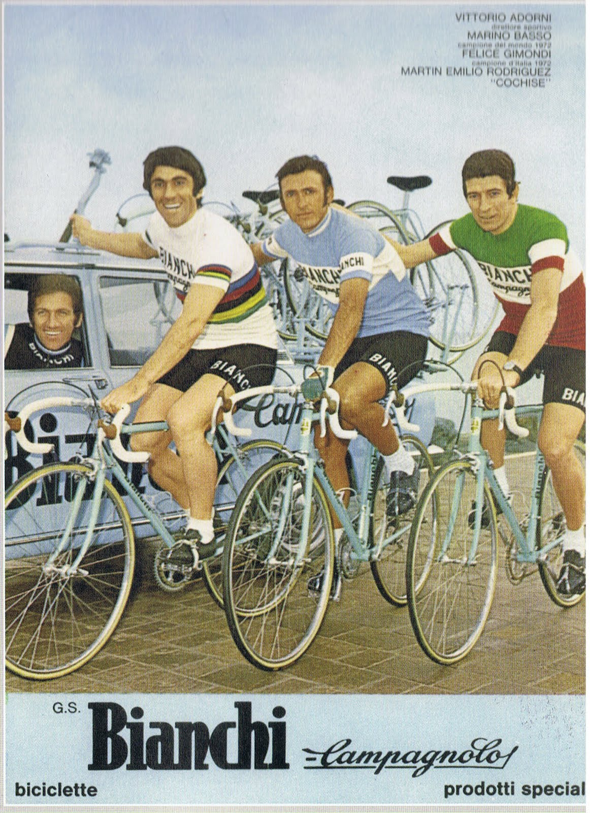 """Marino Basso (left in the World Champions jersey) was also known as """"Mr 10,000 Volts"""" such was his sprint"""