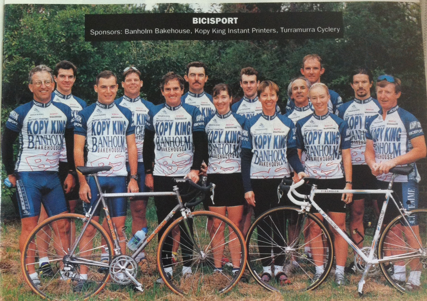 """BiciSport was established in 1995 with the club name & logo taken from the Italian """"BiciSport"""" magazine. The original primary sponsors were Banholm Bakehouse (at St Ives),Kopy King & Turramurra Cyclery. The 1995 team photo was taken at St Ives."""