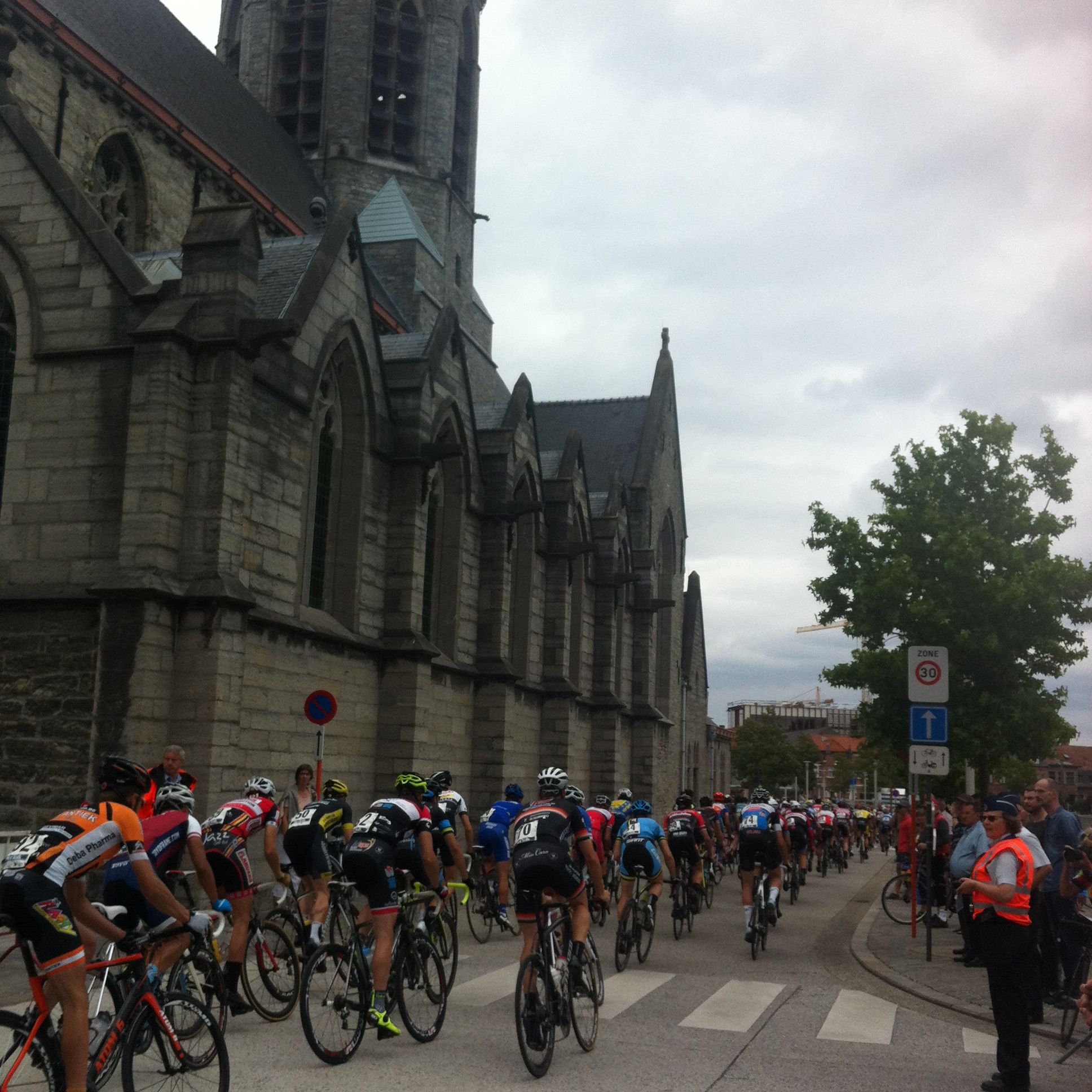 Passing the Deinze Church just after the finish line ... prayers won't help you with a 50kph+ average   speed