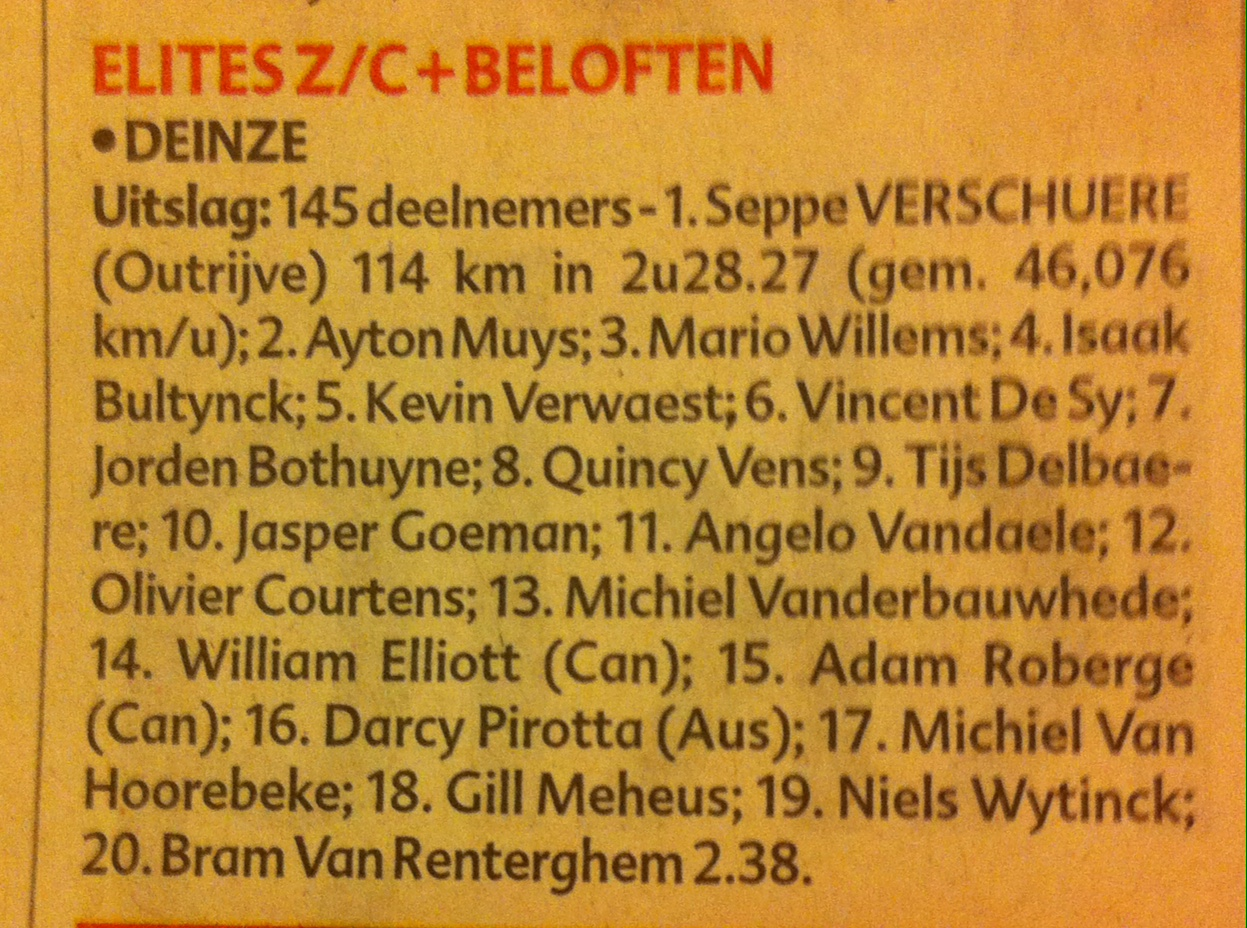 Deinze results in Het Niewsblad the next day with 145 starters at an average speed of 46.1kph !!! for 114k. Couple that 46.1kph with 11 corners per lap (full gas) and that amounts to 154 micro sprints plus the racing in between the micro sprints .