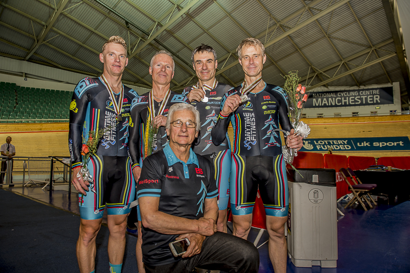 World Masters Track Championships Manchester October 15 - BiciSport Teams Pursuit Team took the Silver medal with Andrew Patten, Jayson Austin, John Crouchley (coach), Matt Glanville & Geoff Baxter