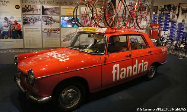 A trip to the Tour of Flanders Museum in Oudenaarde is rewarded with a Flandria Pro Team car (Peugeot 404) as the prime exhibit. The matching Flandria team bikes on the roof are a nice touch. Maybe Belgium was too cold in the Spring Classics as the back rear door for the mechanic was intact.