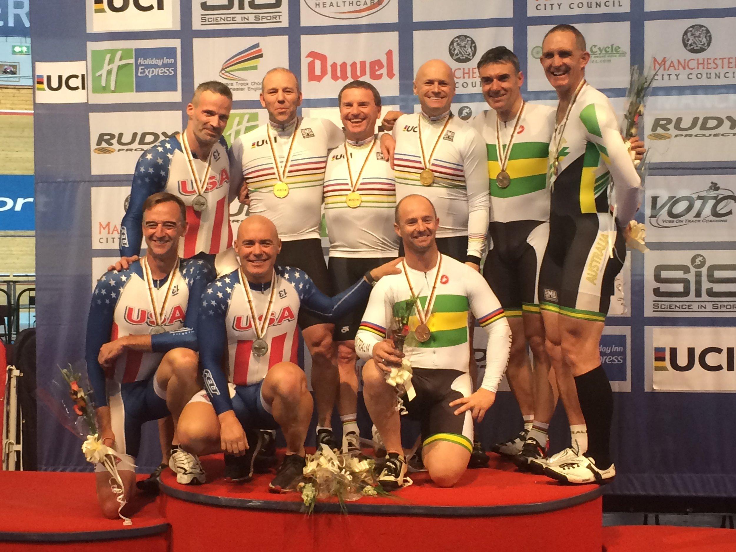 Manchester - Team Sprint podium for the Bronze