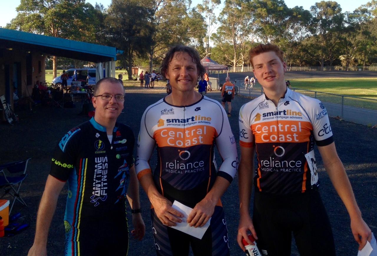 Gosford Track Open -David Browne 2nd, Ayrton Gilbert 1st, Adam Gilbert 3rd