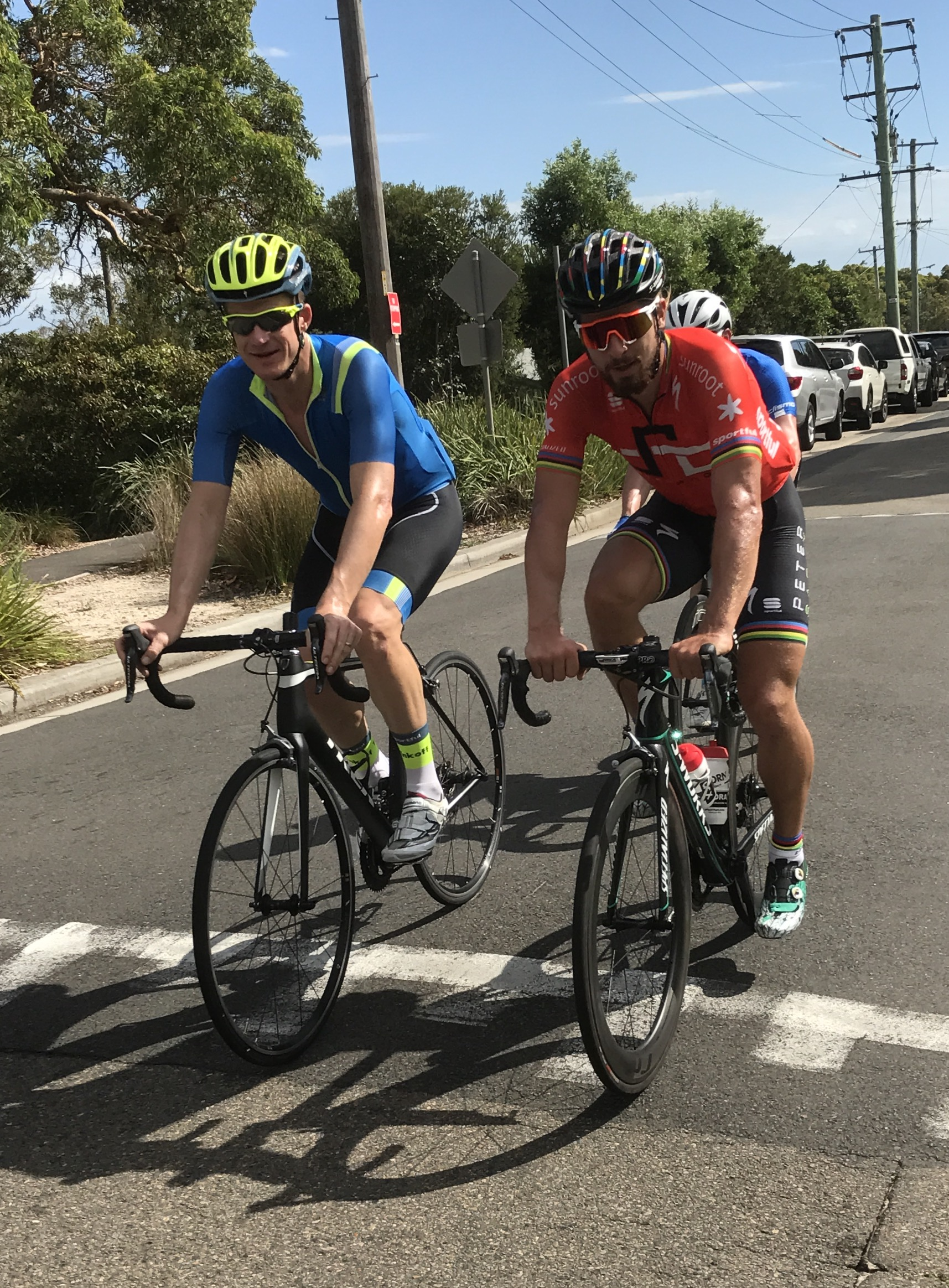 """December 31 ... calmly driving two Belgian friends around Chowder Bay near Mosman chasing a good coffee .... hang on a minute ... isn't that Peter Sagan & Mick Rogers ! ? ... can't be ! ? ... double take ...yep, """"Peter"""" on the knicks sort of gave it all away. Nobody is ever going to believe this ..."""