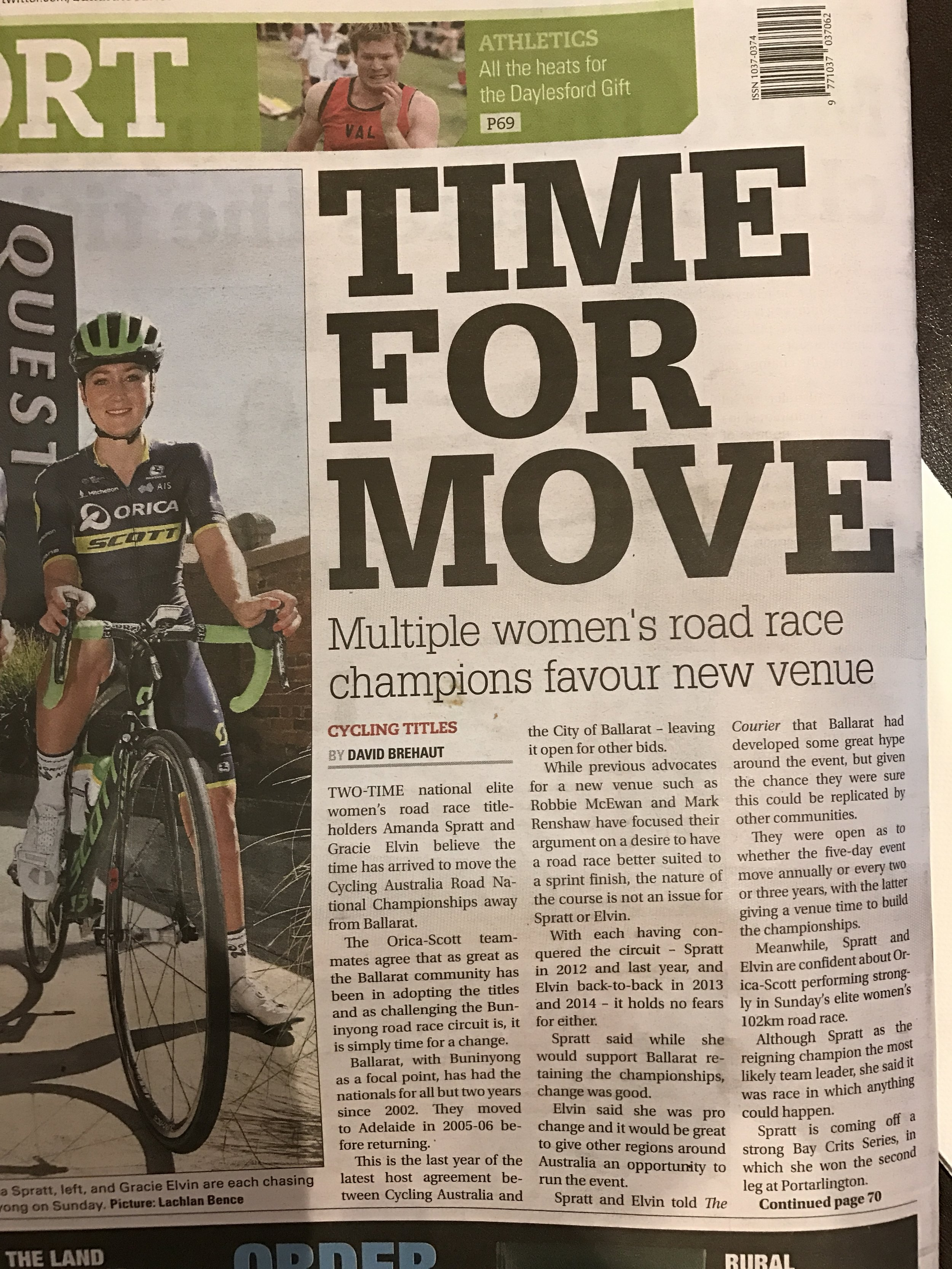 Ballarat 17 - The local newspaper lead story on the Saturday of the Under 23 Road Championships. The local journalists for some reason were fixated with headlining why we'd like to leave Ballarat instead of celebrating the current event itself .