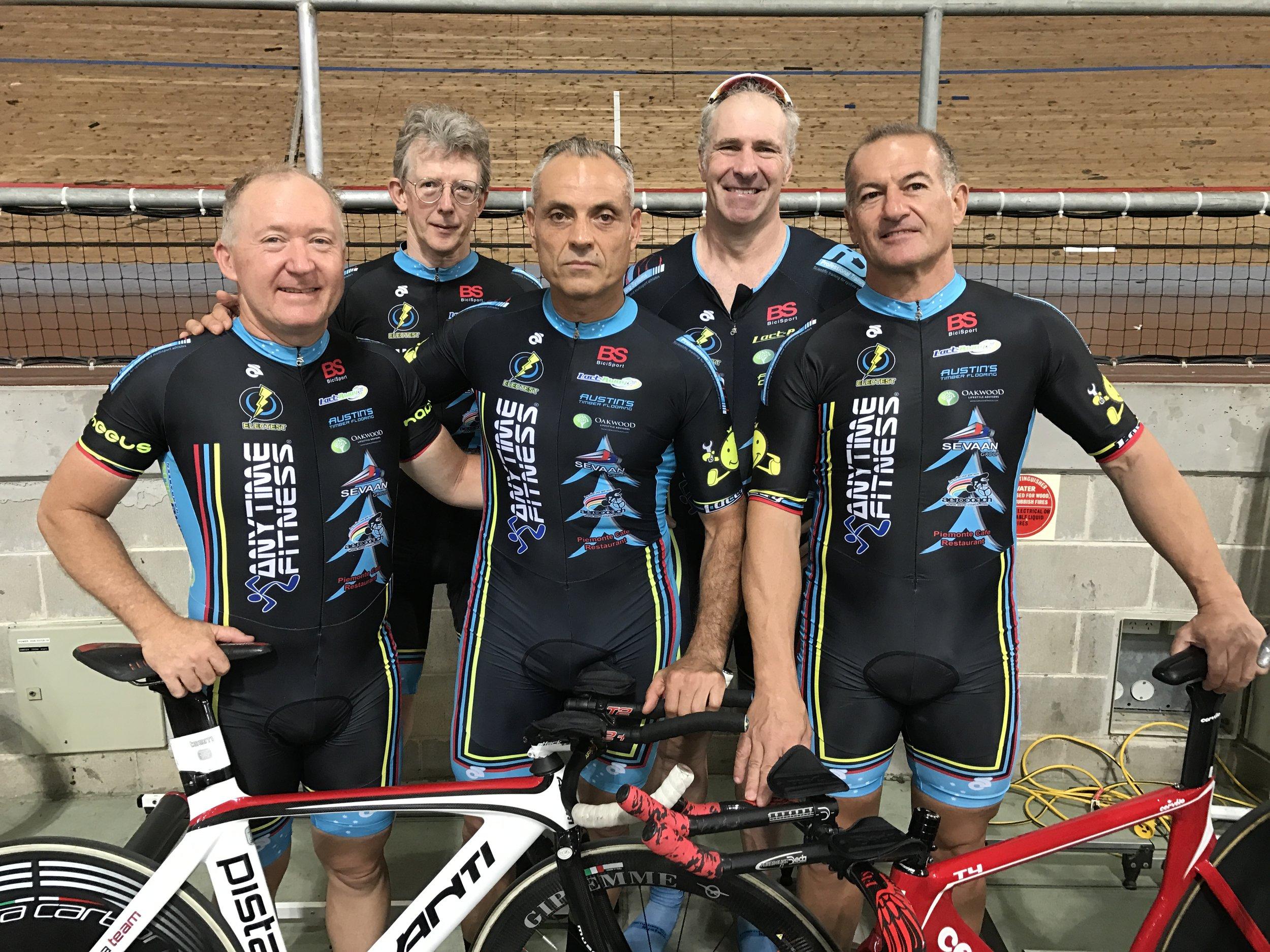 NSW Masters Track Championships - BiciSport 150+ Teams Pursuit squad of Graham Cockerton, Peter Verhoeven, Dom 'Mr 21 Seconds' Zumbo, James Thornton & Anthony Colantonio