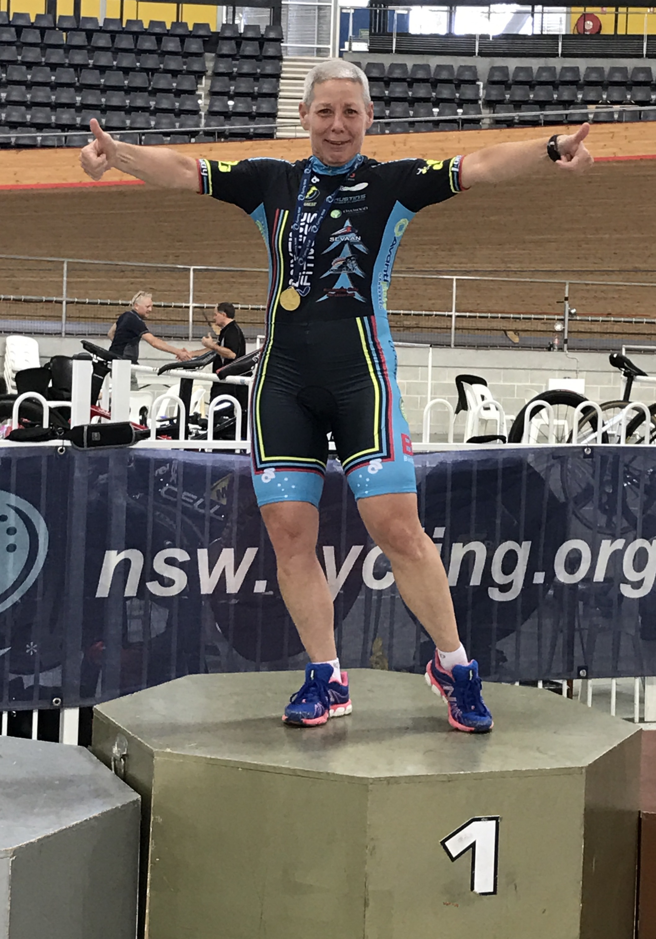 NSW Masters Championships - Lise Benjamin doing the  Podium Jig  for taking Gold in the W6 Scratch Race