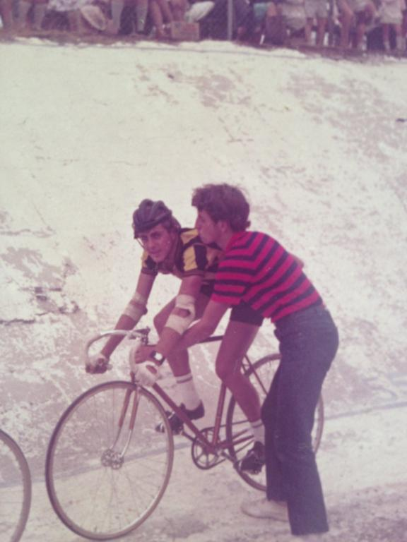Canterbury CC Reunion - Moree Velodrome in the late 1960's with Mike O'Reilly pushing off Stephen Brooks in the handicap Wheelrace. The Moree Velodrome was in poor condition even then (note the decaying velodrome walls held together with chicken wire).