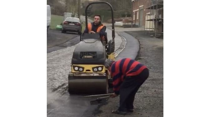 Only in Belgium ... the local Oudenaarde Council puts down smooth bitumen beside the famous Eikenberg cobbled climb in Flanders. A local cyclist was clearly not impressed (and in true Flandrian Classic fashion) begins digging up the fresh bitumen !!... he preferred the nasty cobbles in the Tour of Flanders and who needs bitumen. The video went viral in Belgium and the Flandrien is now a hero.