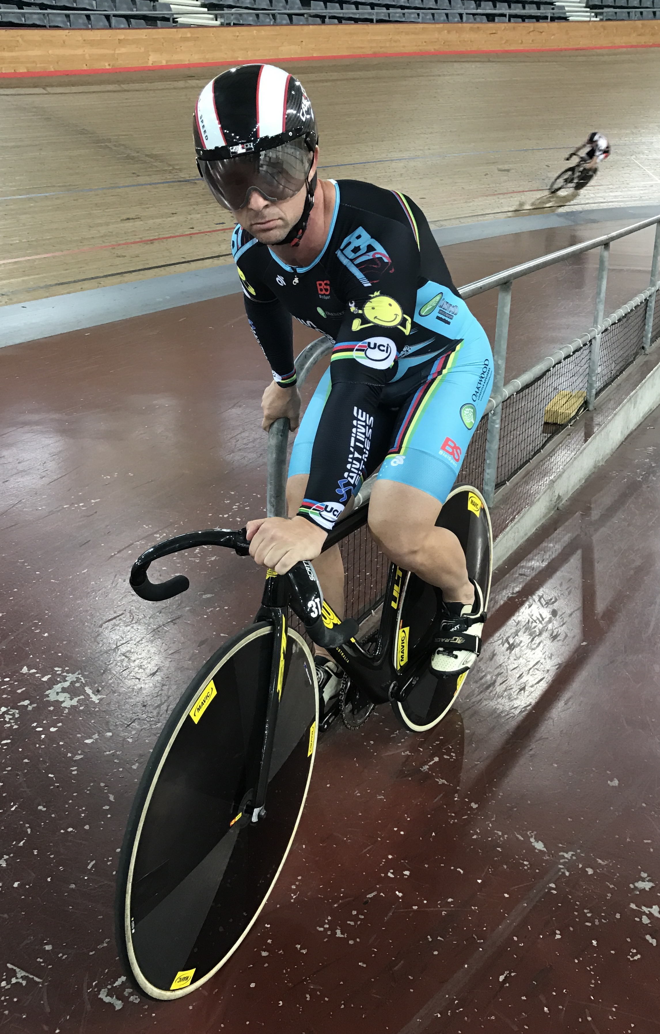 National Masters Track 2017 - Mike Smith before the start of the Team Sprint where he took Gold. The bands around the sleeves denotes a reigning UCI World Champion from Manchester 2016.