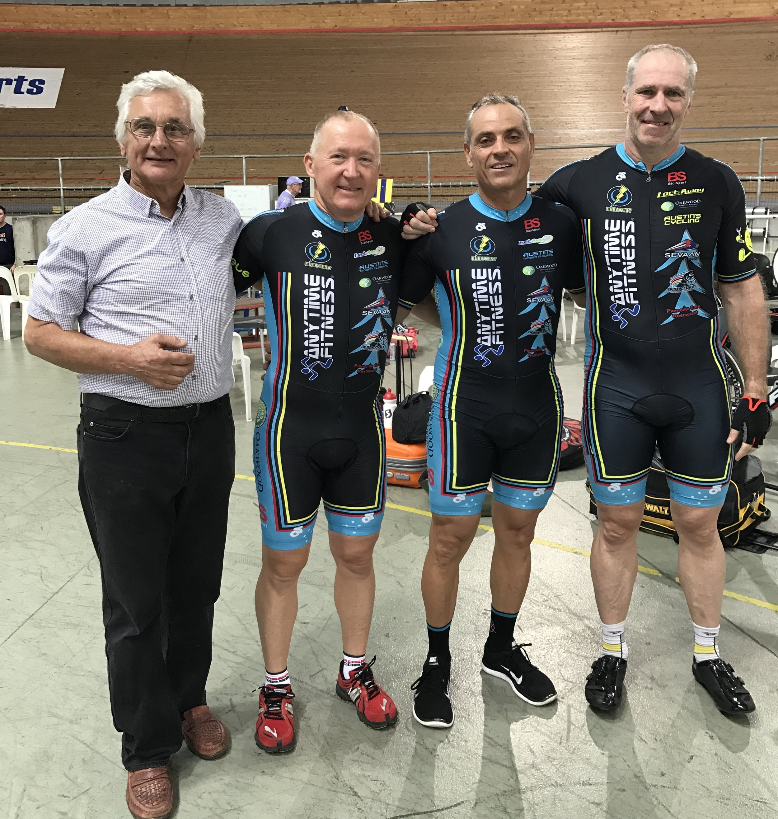 National Masters Track 2017 - BiciSport Team Sprint squad took 4th in a great ride. John Crouchley (Coach), Graham Cockerton, Dom Zumbo & James Thornton