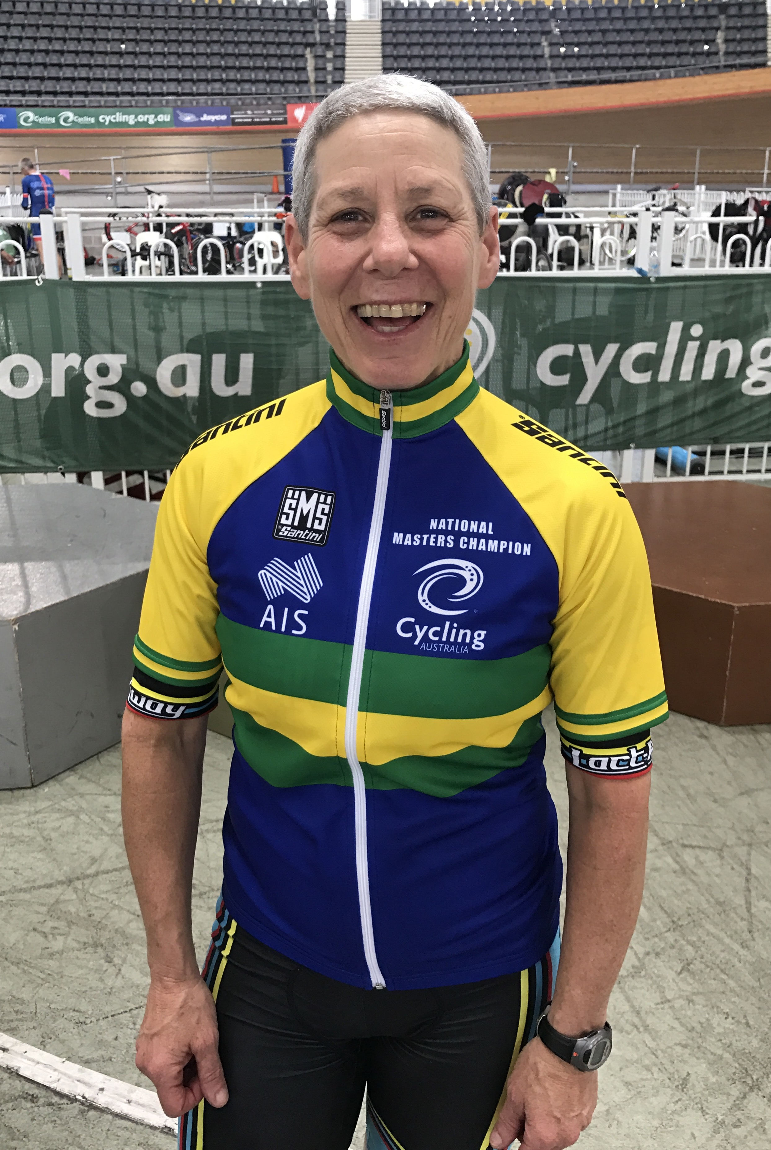 National Masters Track 2017 - Lise Benjamin was awarded the W7 Champion of Champions Award & jersey
