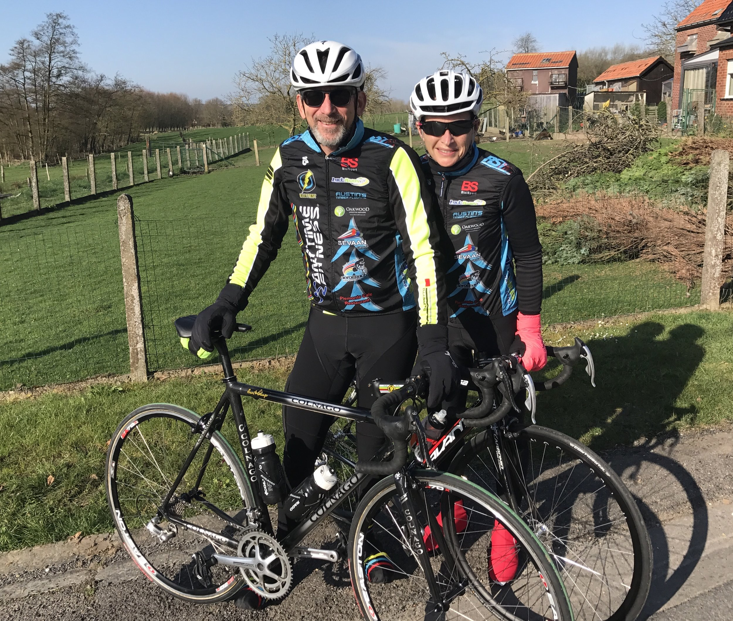 Flanders 2017 - Graham & Sue Tierney outside the Kokerelle B&B in the village of Maarke Kerkem