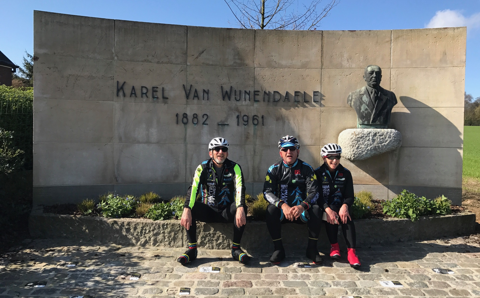 Flanders 2017 - Karel Van Wijnendaele conceived the Ronde Van Vlaanderen (Tour of Flanders) and a monument is dedicated to his memory at the top of the Old Kwaremont cobbled climb. The winners of each Ronde have their image on their own small cobble in front of the KVW monument.