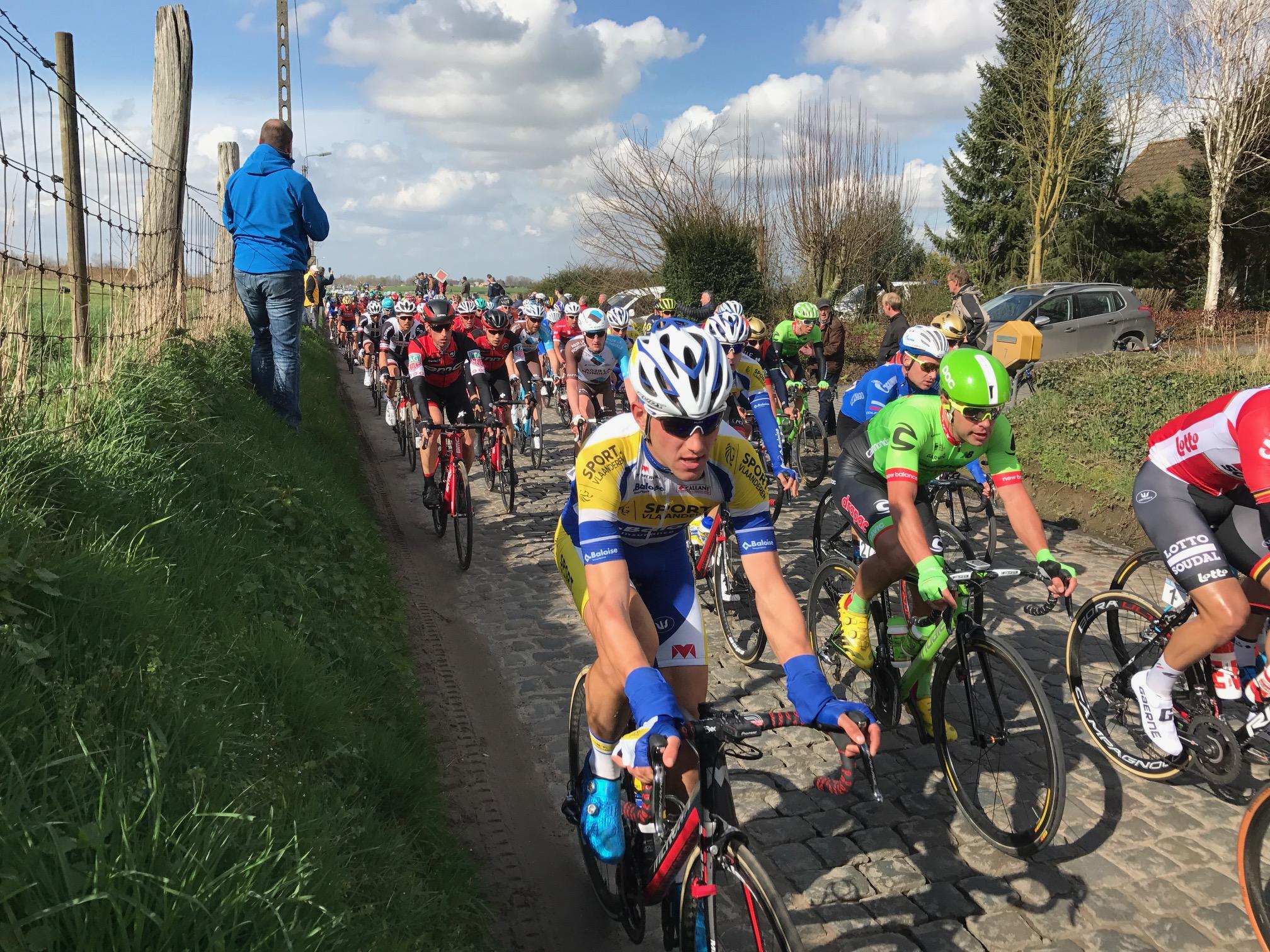 Dwars Vlaanderen 17 - The peloton slams over the Holleweg cobbles just outside Maarke Kerkem