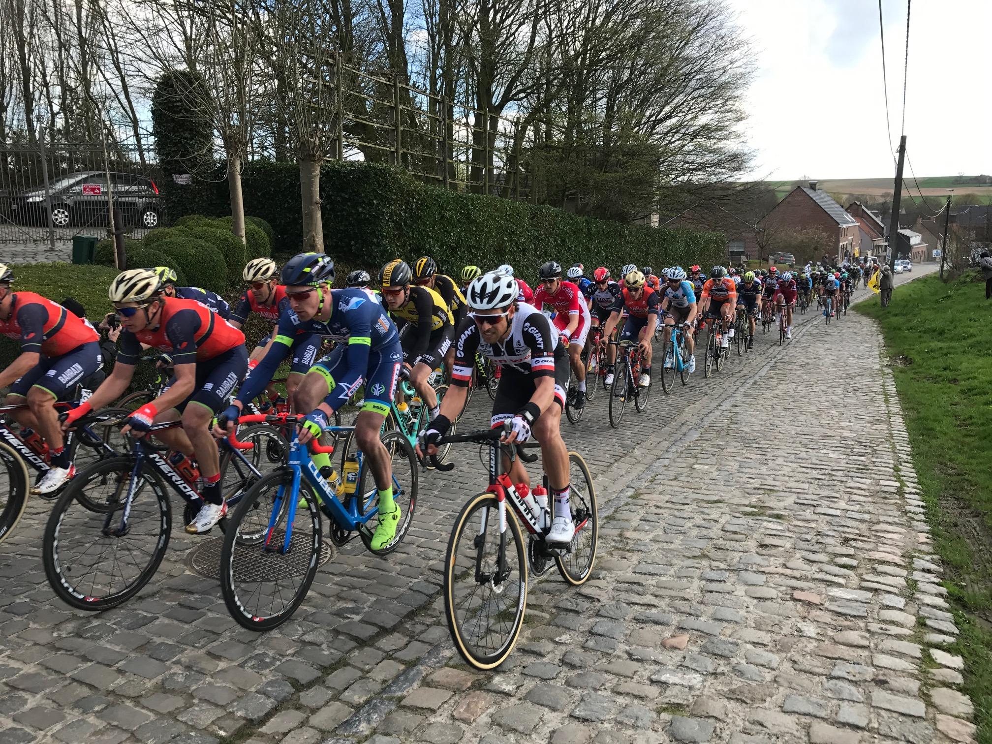 Dwars Vlaanderen 17 - The peloton hits the Eikenberg cobbles near Maarke Kerkem