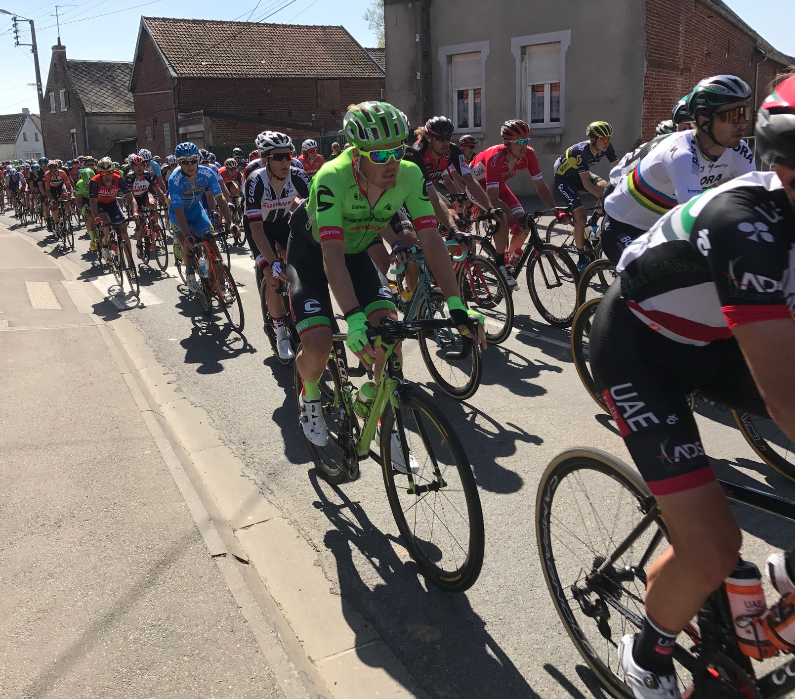 Paris Roubaix 17 - The BiciSport team headed for the small village of Viesly near Solesmes and the PR peloton entered from one side of the village then headed off towards the Quivey cobbles only to return to the other side of Viesly some 20 minutes later .