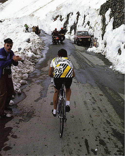 The Giro in 1980 featured the Stelvio Pass and Bernard Hinualt topped the summit in heavy snow.