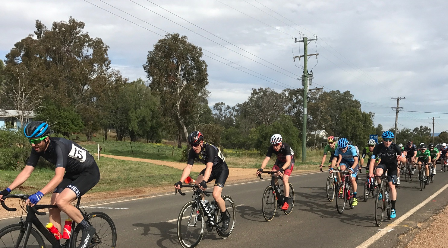 Coonabarabran Gunnedah 17 - Conor Tarlington (blue helmet blue shoes) in the lead group with 45k to the finish