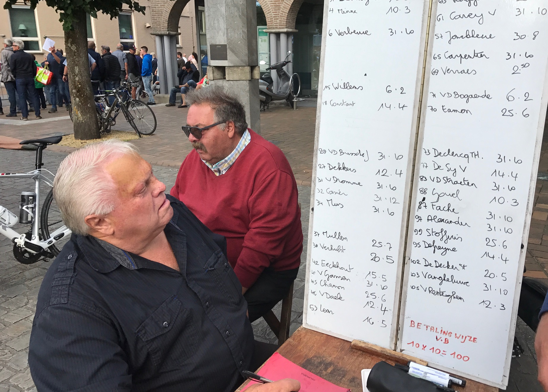 Flanders 17 - So you think the CyclingNSW State handicappers have it tough ... try being one of three bookmakers taking bets at the Oostkamp kermesse with 112 starters. The minimum bet is 5 Euro and the numbers on the right of each rider's name denotes the win-place betting odds - 25.6 means odds of 25 to 1 for the win and 6 to 1 for a podium. Not every rider who starts is listed on the betting sheet (being Flemish helps). Don't you think these bookmakers take a real keen interest as to who gets in the winning break with 4 laps to go.