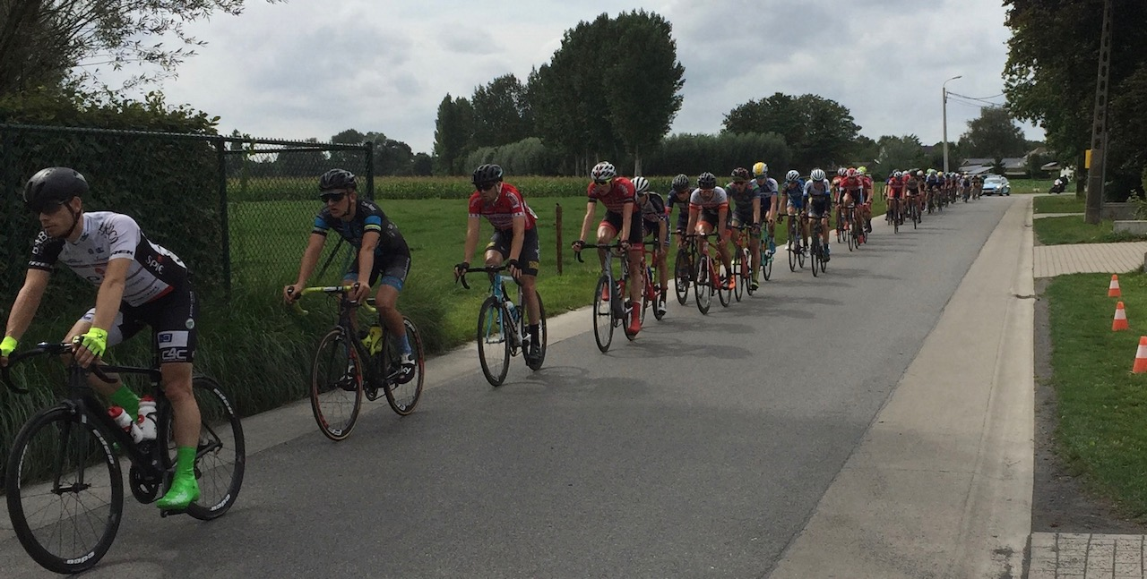 Tour of East Flanders 17 Stage 3 - Peter (3rd in line) approaching the Beveren cobbles near Hassdonk