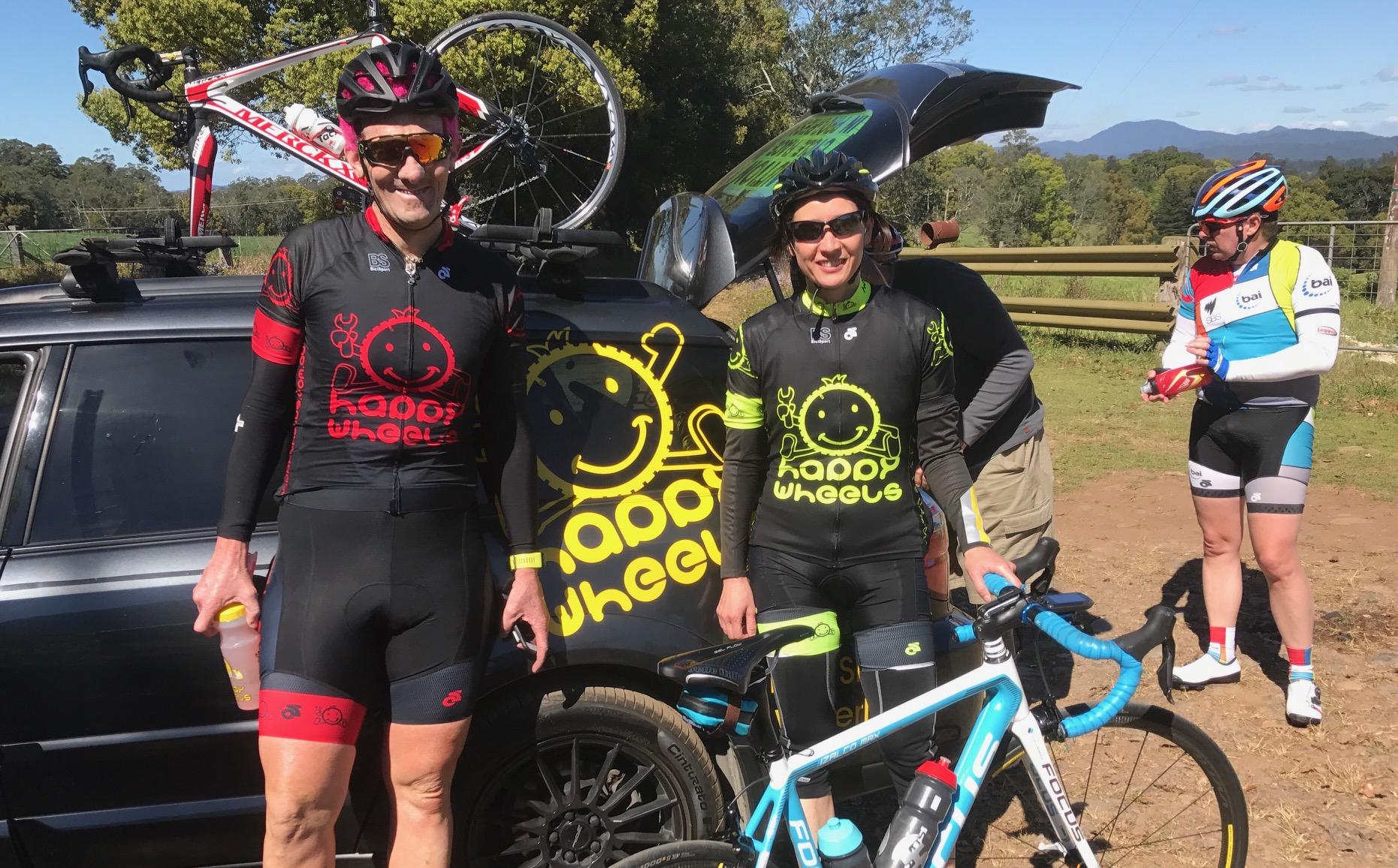 Tour de Bello 17 - Stewart & Mirelle Campbell at the bottom of the Dorrigo Mountain near Bellingen