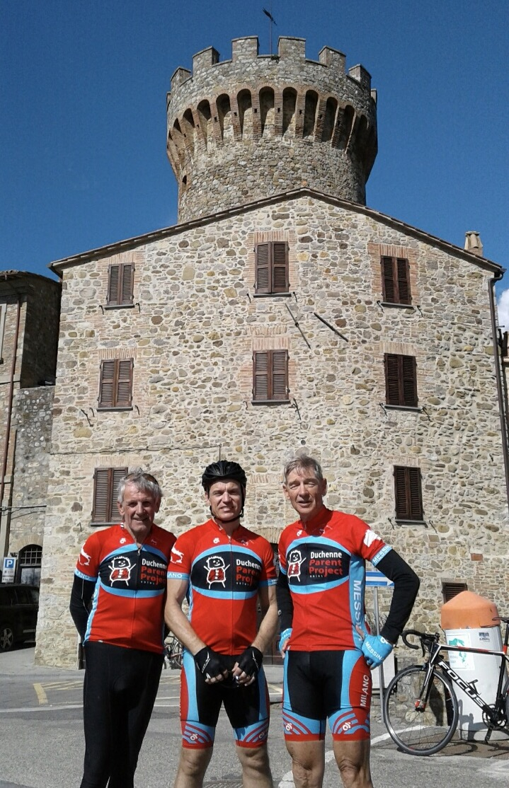 Italy 17 - Ian Grainger, Karl Hoad & Jock Young (BiciSport Masters) are riding the 2,000k from Sicily to Milan on a charity ride in aid of the Duchenne 'Parent Project'. Duchenne is a type of muscular dystrophy.Dino Ferrari (son of Enzo) died from Duchenne disease. The ride is assisting to raise both awareness and funds. The team is pictured in Chiusu (central Italy). After Milan they head to Bormio and the Stelvio and Mortoriolo