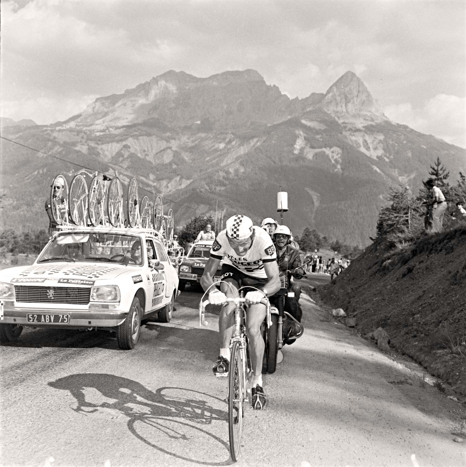 Bernard Thevenet rides to victory through the French Alps in the 1975 Tour de France
