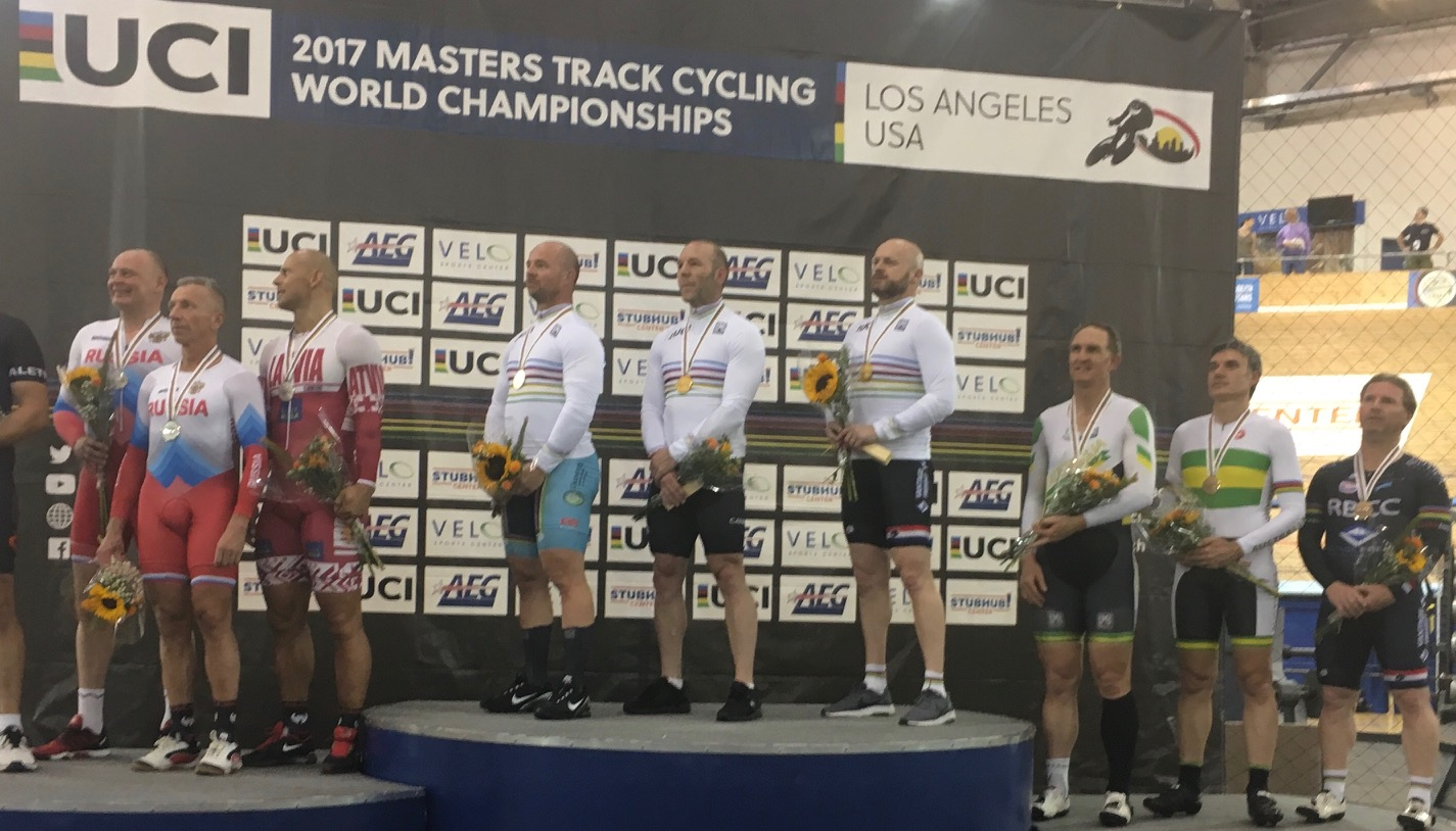 Los Angeles 17 - Mike Smith (in the Masters World Champions jersey) for the Team Sprint Gold