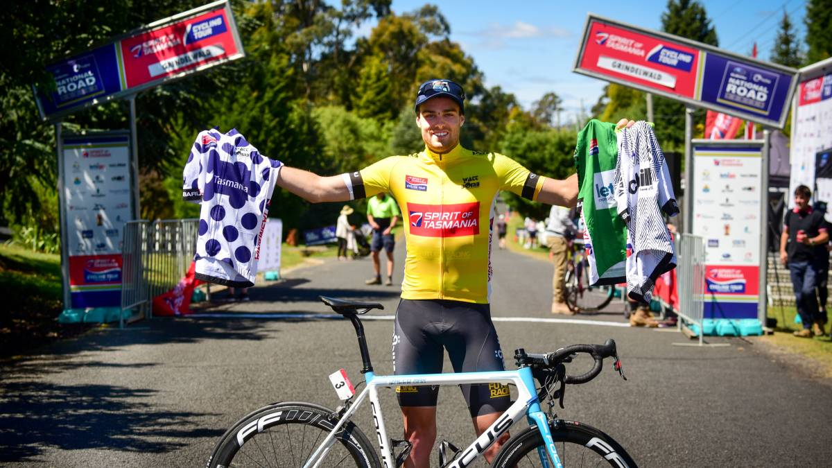 T our of Tasmania 17 - Peter Livingstone (BiciSport Mobius) wins Stage 1 of the Tour of Tasmania and pocketed a handful of classification jerseys