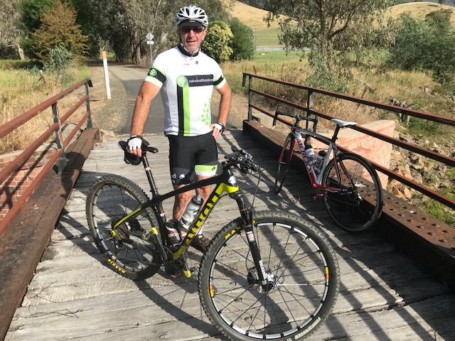 Bright 18 - Brett Tarlington (BiciSport Oakwood Lifestyle Advisers) sighted on one of the many bridges along the Myrtleford Rail Trail outside Bright (Victoria), enroute to nearby Beechworth.