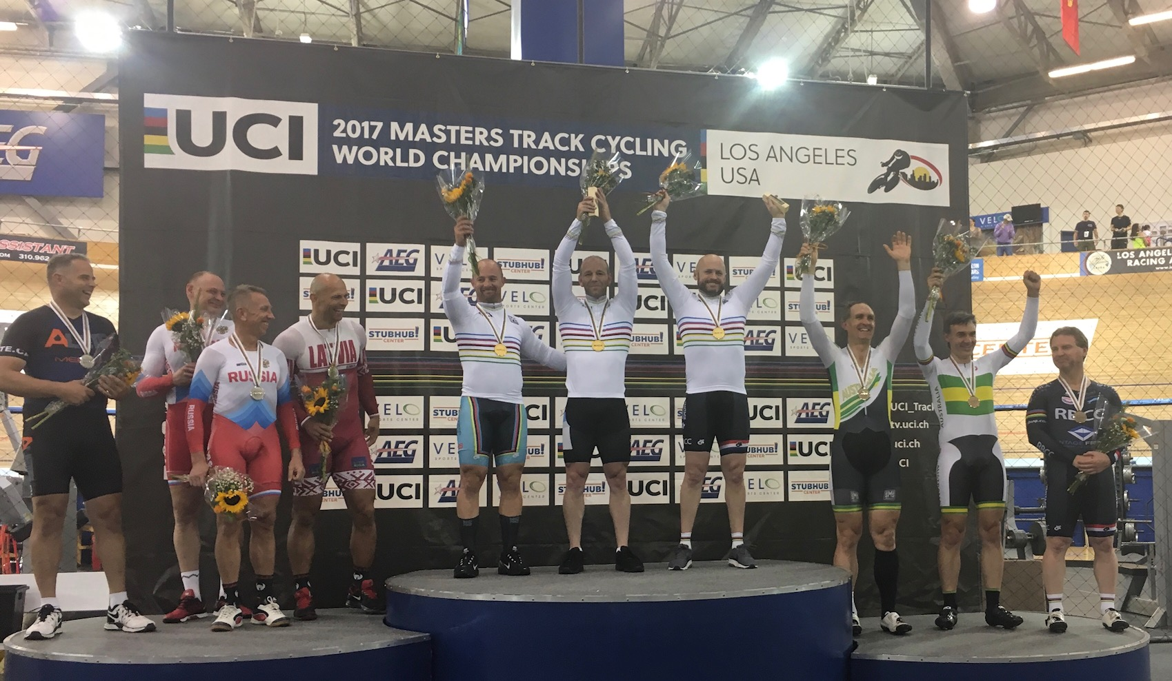 Los Angeles World Masters Track Championships October 17 - Mike Smith took Gold in the Team Sprint