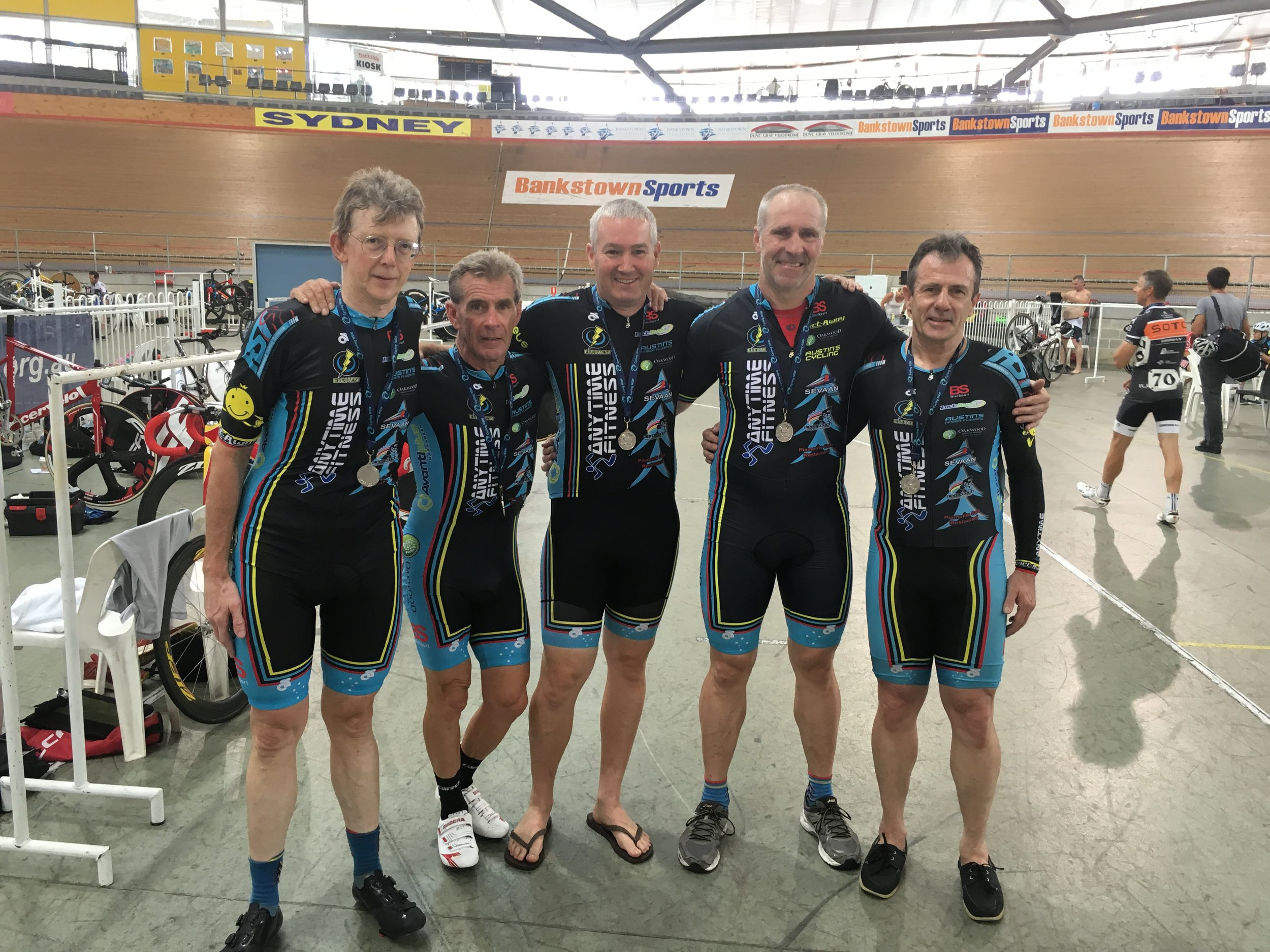 NSW Masters Track Championships February 2016 - The Masters 150+ team took the Silver medal with Peter Verhoeven, Mike Lawson, Michael O'Brien, James Thornton & David Willmott