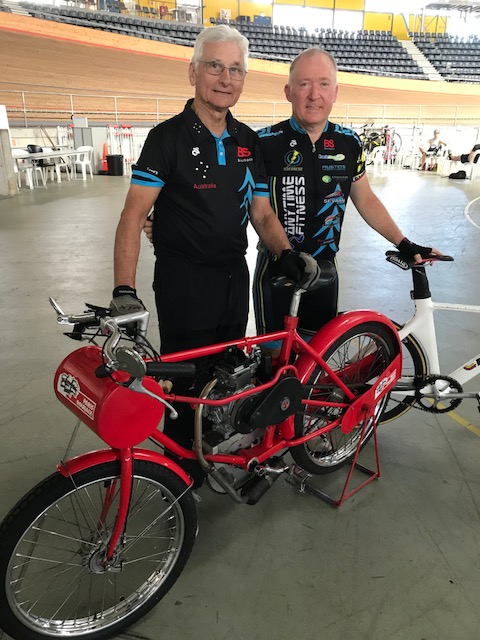J ohn Crouchley (left) with Graham Cockerton (BiciSport)recently at the DGV with the rebuilt four stroke derny that comfortably reaches 65kph