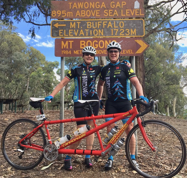 Audax Alpine Classic 18 - Melissa & Peter Budd at the top of Tawonga Gap