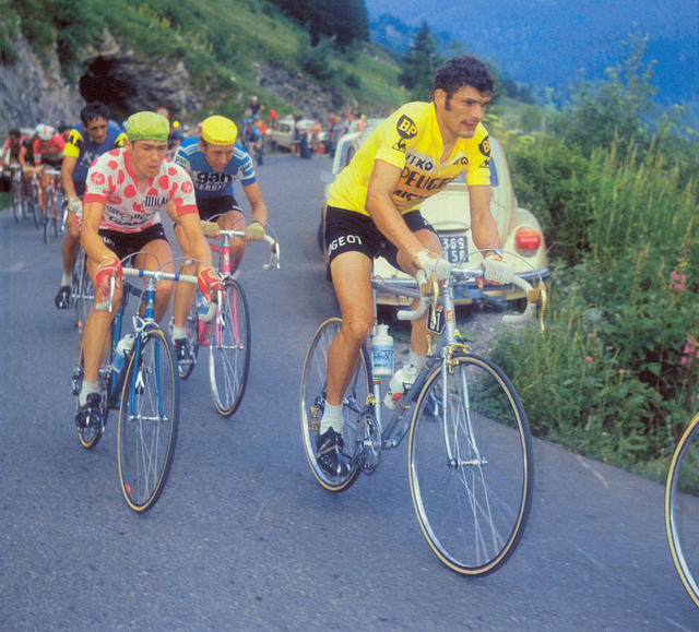 Tour de France 1975 - Bernard Thevenet aboard a silver Peugeot PY-10 with special gold anodised brake levers, brake calipers, gear levers and front & rear gears.